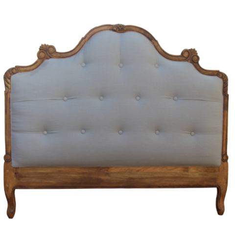 French Styled Upholstered Timber Carved Frame Headboard Upholstery King Size Headboard