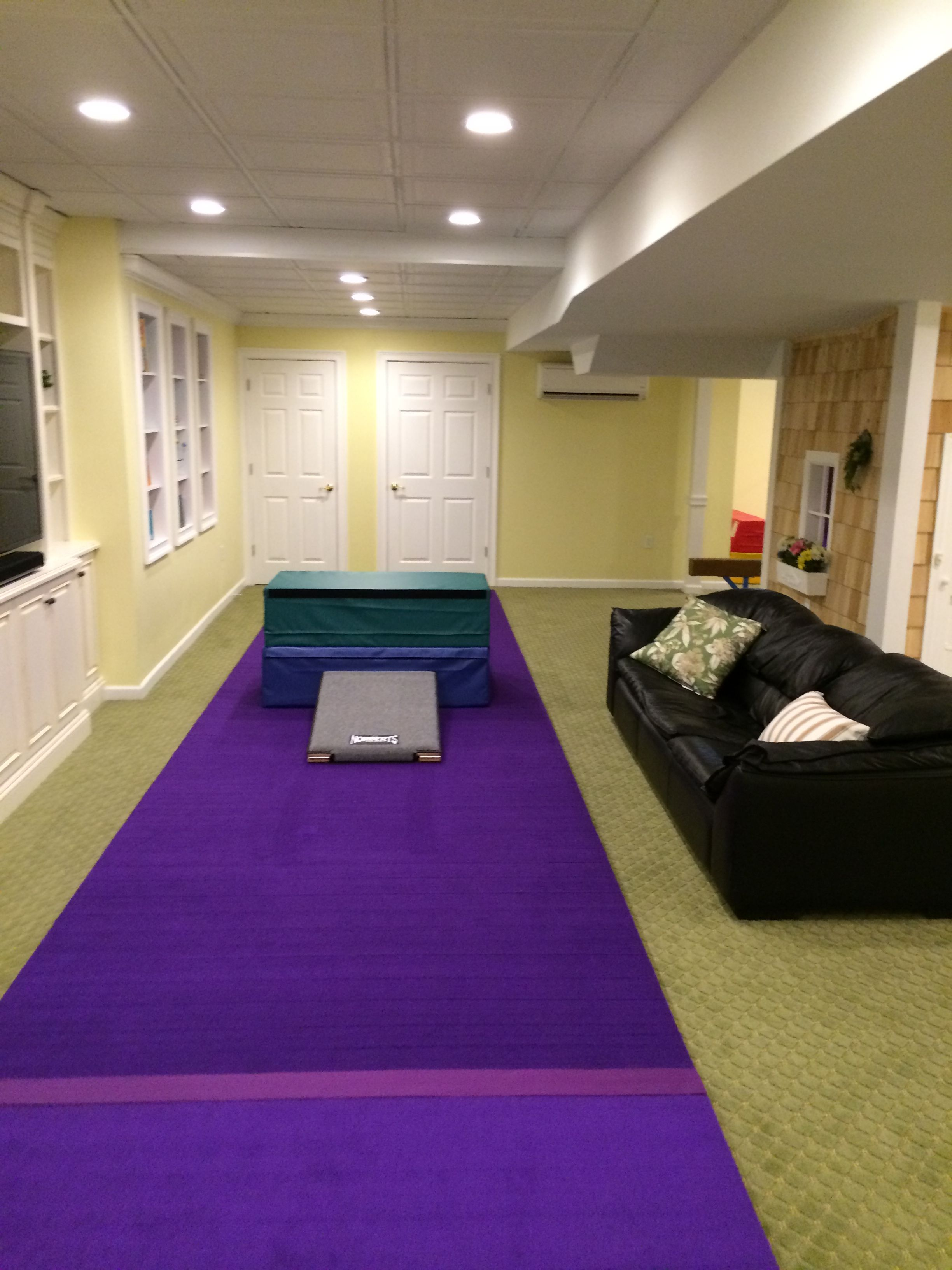 Indoor Gymnastics Area. Also Pinning For Basement Finishing Ideas