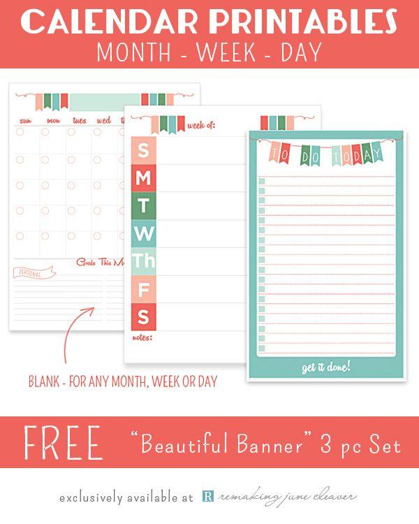 Calendar List Design : Printable calendar set quot beautiful banner design