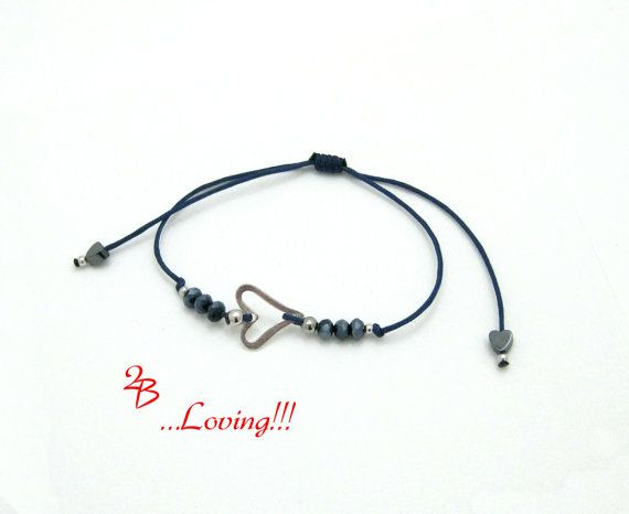 Pretty heart bracelet, a perfect gift for loved one. Sterling silver with hematite and crystal beads on blue cord!!