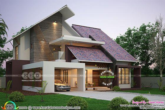 Ultra modern slanting roof house plan 2450 sq ft