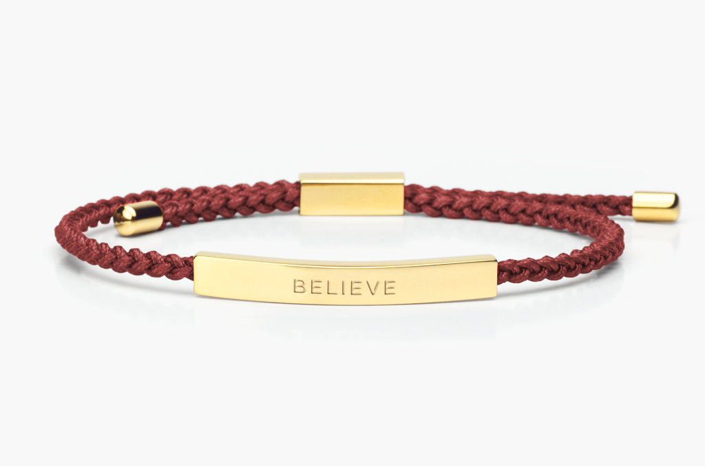 """Minimalist, Gold & Burgandy braided friendship bracelet   """"Believe"""" is a reminder that belief establishes the parameters of possibility. Every journey starts with first believing."""