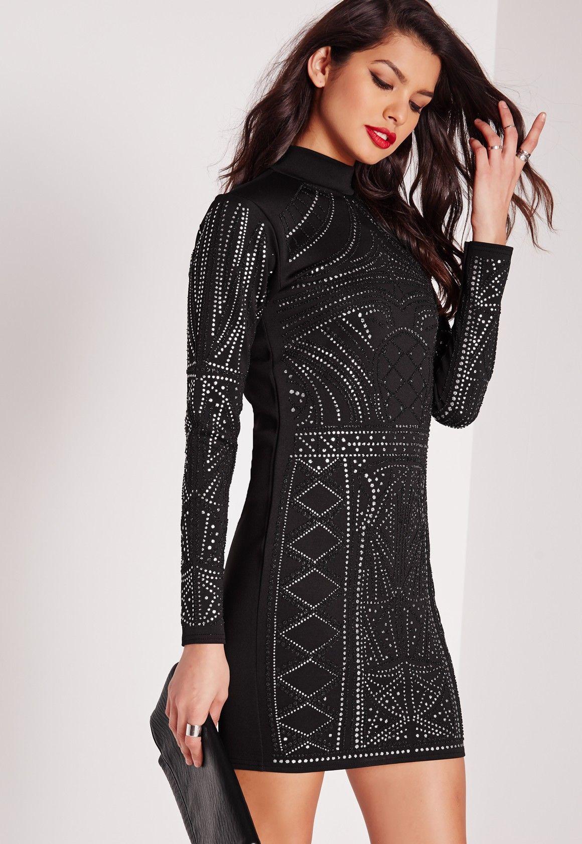 1c608022957 Missguided - Robe moulante noire perles effet caviar