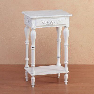 White Wood End Table with Drawer and Shelf Furniture Living Room Bedroom~~Shabby Chic~~
