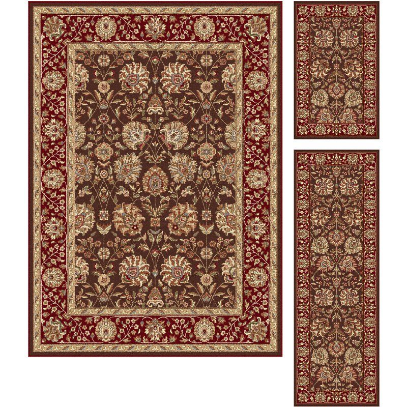 3 Piece Set Red Brown And Gold Area Rug Elegance Area Rug Sets Area Rugs Transitional Area Rugs