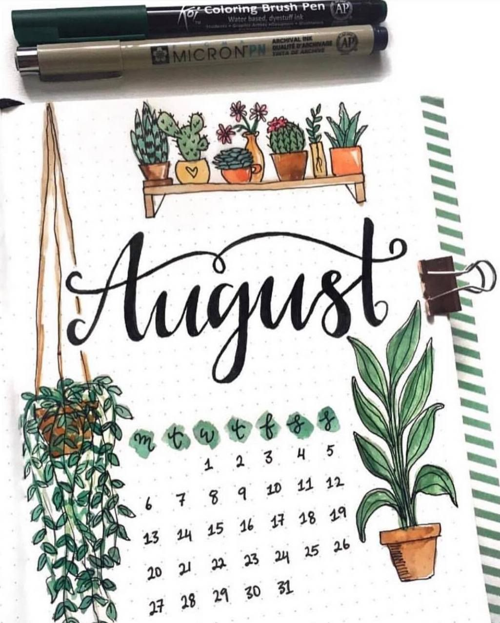An August overview by ig@couleursduvent | plant bullet journal | bujo inspiration #augustbulletjournal