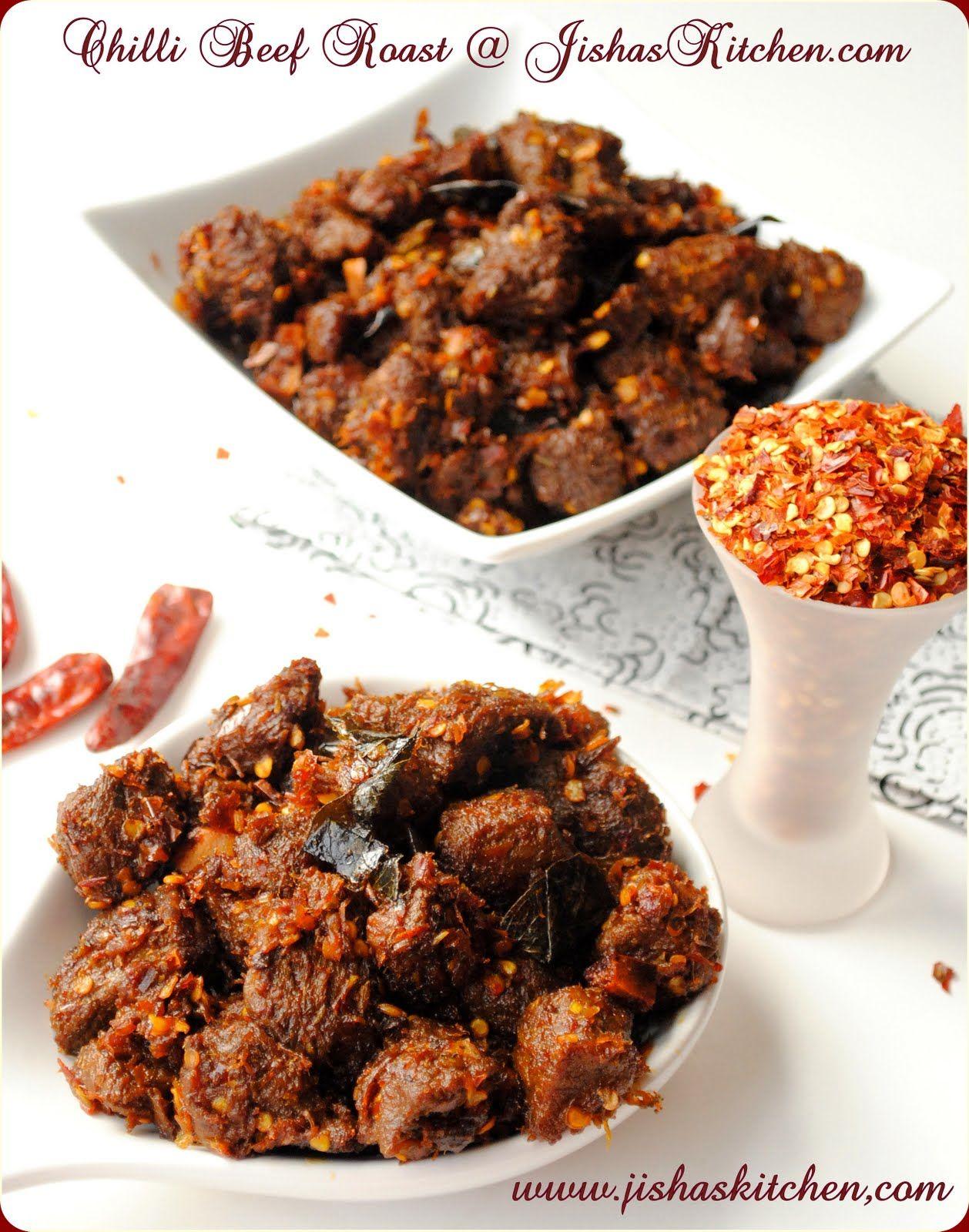 Jisha S Kitchen Kerala Style Spicy Chilli Beef Roast Indian