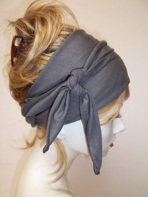 Yoga Wrap Hair Wrap Charcoal Tencel Exercise Ballerina Head Wrap Dreads Wrap Headband on Etsy, $23.00