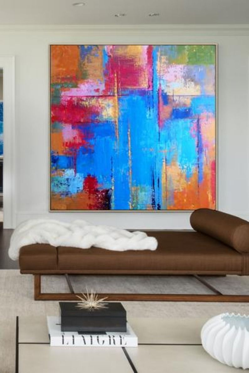 Large Abstract Painting On Canvas Colorful Wall Art Blue Canvas Art Orange Painting Hand Paint Blue Canvas Art Abstract Painting Colorful Wall Art