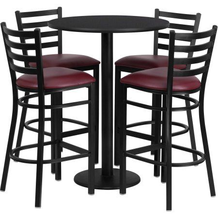 flash furniture 30 round black laminate table set with 4 ladder rh pinterest de