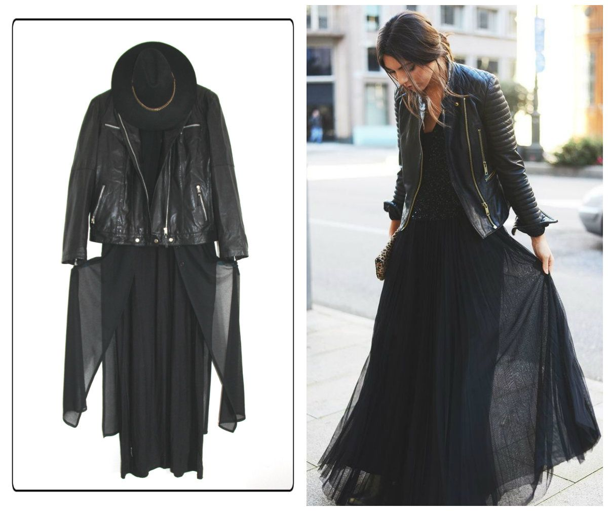 Get inspired on Pinterest; Mine: Leather jacket Long black vintage see trough blouse Long jersey dress