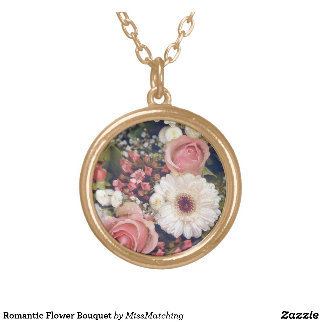 Romantic flower bouquet gold plated necklace jewelry pinterest flower bouquets izmirmasajfo