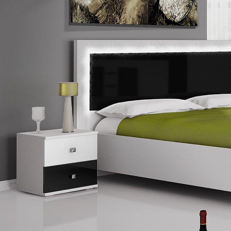 Table De Chevet Noire Et Blanche Laquee Design Eline Meuble Rangement Meuble Chambre Tables De Chevet Noires