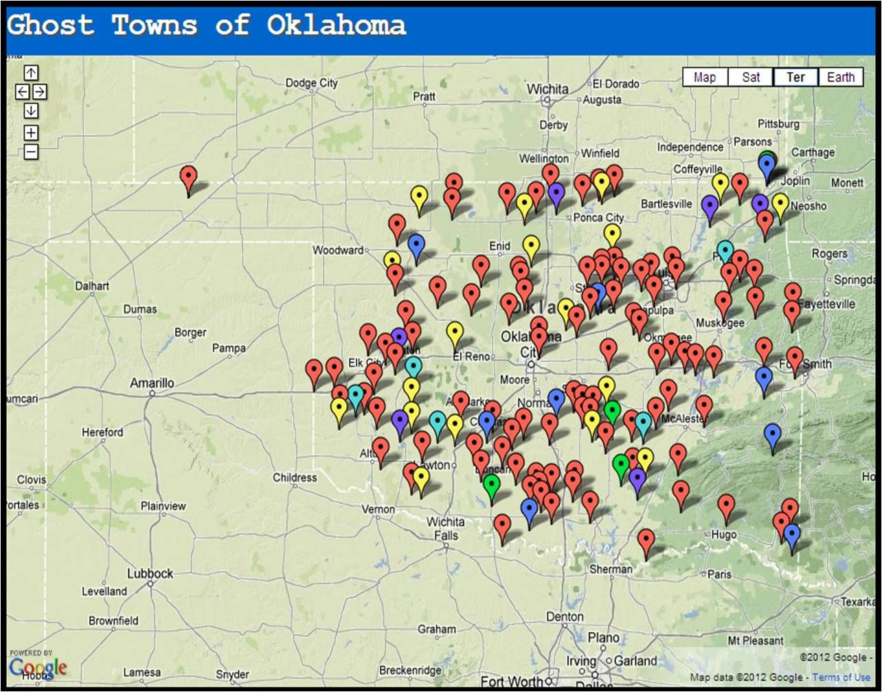 Ghost Towns of Oklahoma Map Ghost Towns