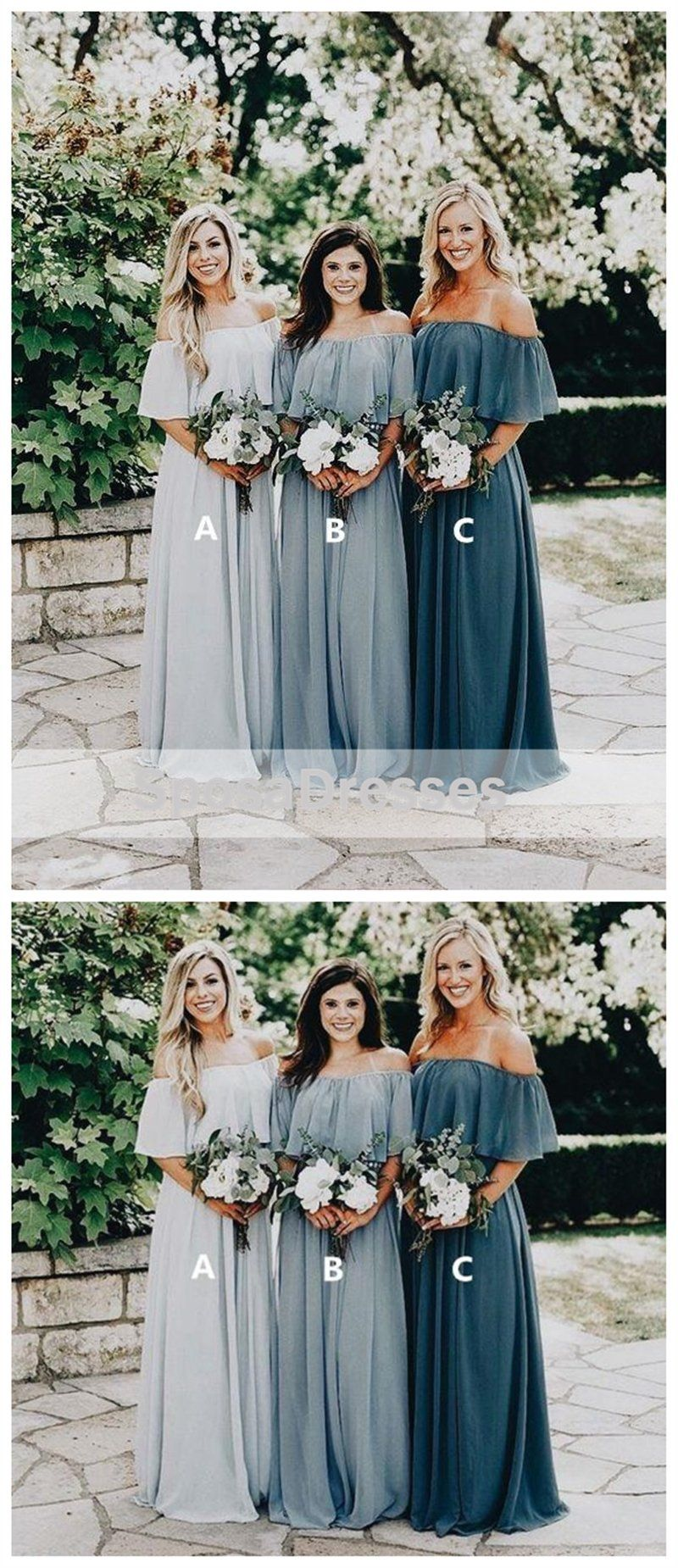 Cheap off shoulder chiffon custom long bridesmaid dresses wg