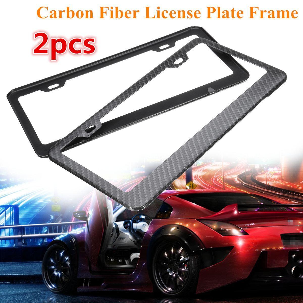 2x Universal Car Front Rear Carbon Fiber License Plate Frame Holder ...