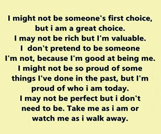 Won't change for anyone!