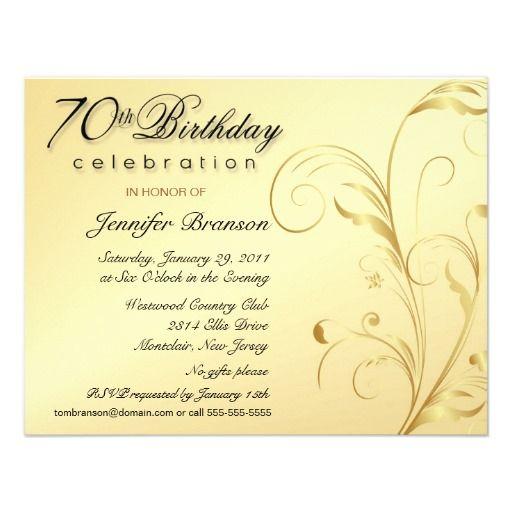 Elegant 70th Birthday Surprise Party Invitations