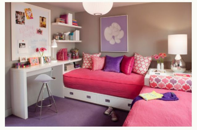 Love This Way Of Using Two Twin Beds In A Small Space Shared Girls Bedroom Cute Bedroom Ideas Kids Bedroom Designs