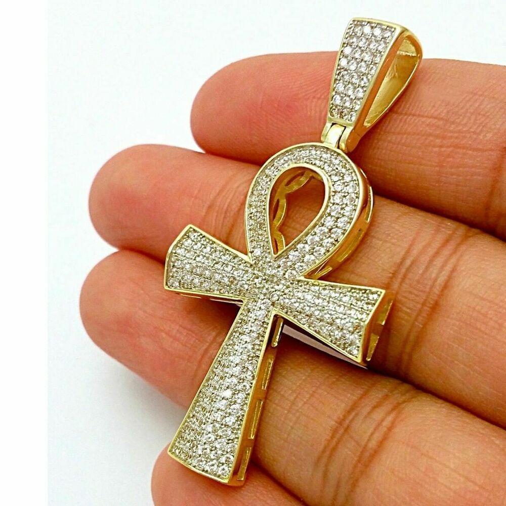 "10K Yellow Gold Diamond Cross Dome Pendant 1.45/"" Men/'s Tier Pave Charm 1//4 CT"