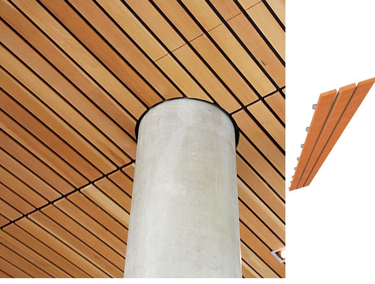 wood ceiling Linear300 by Mucoustik,