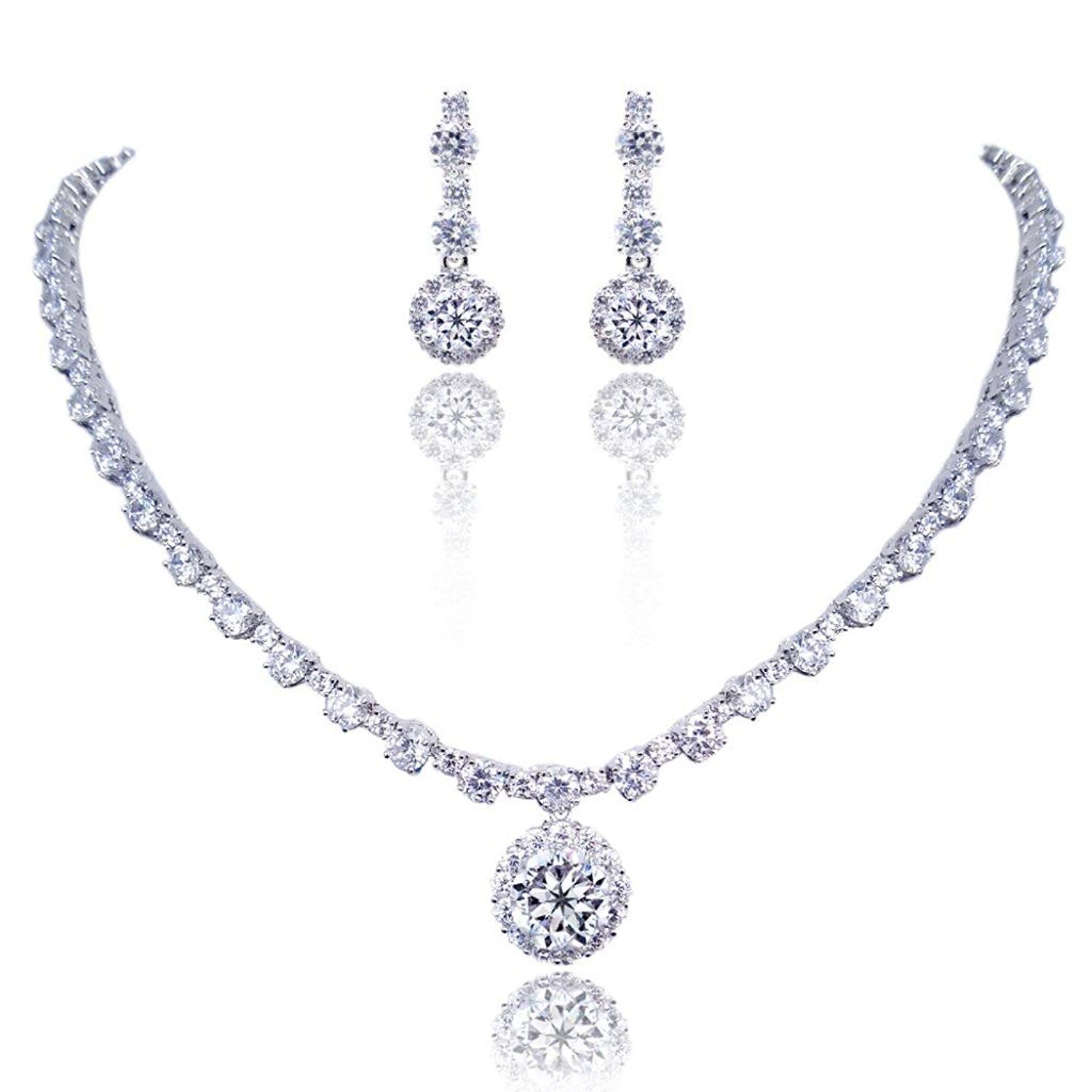 EVER FAITH® Mother's Gift Wedding Prong Clear CZ Round Necklace Earrings Set Silver-Tone * Trust me, this is great! Click the image. : Jewelry Sets