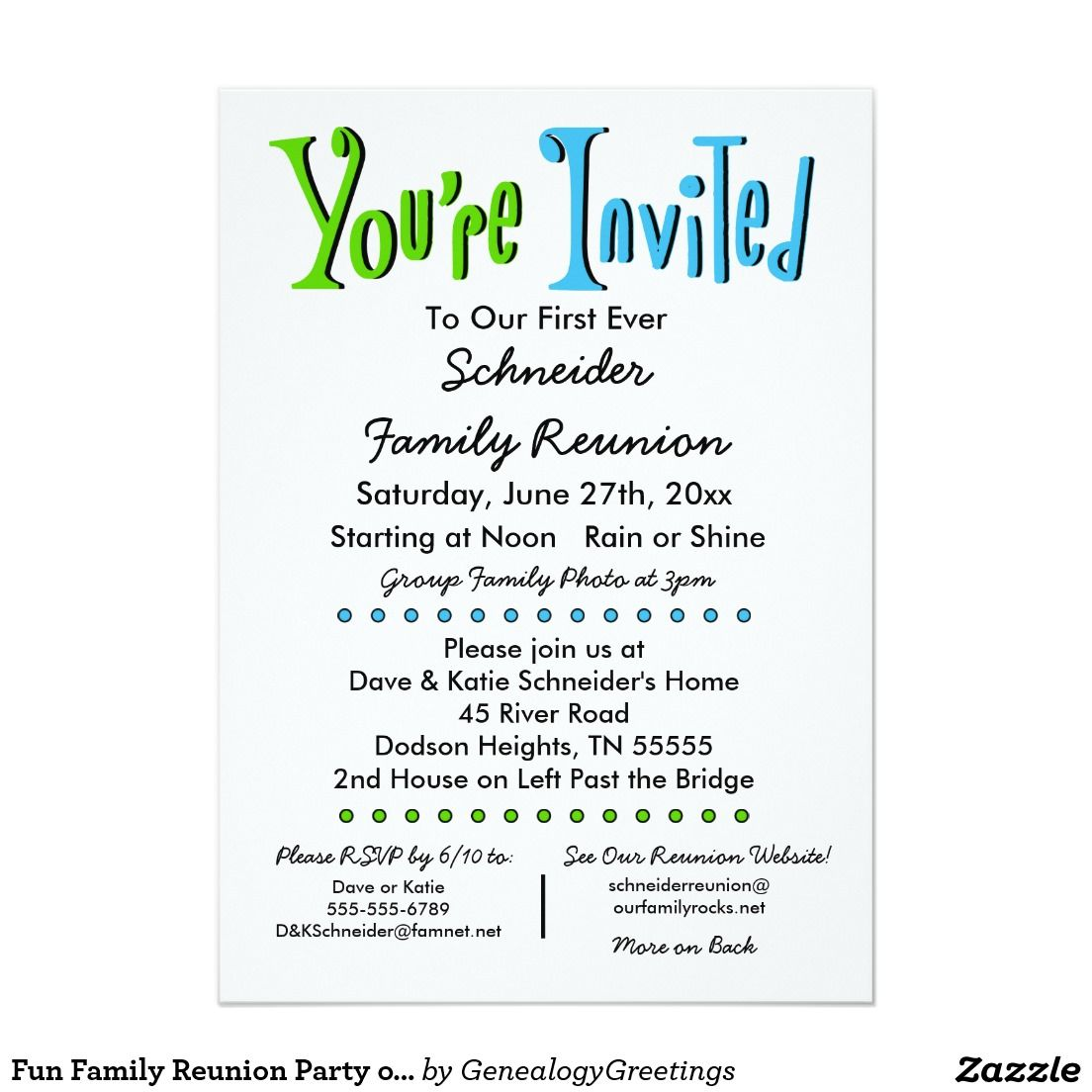 Fun Family Reunion Party Or Event Invitation  X  Invitation
