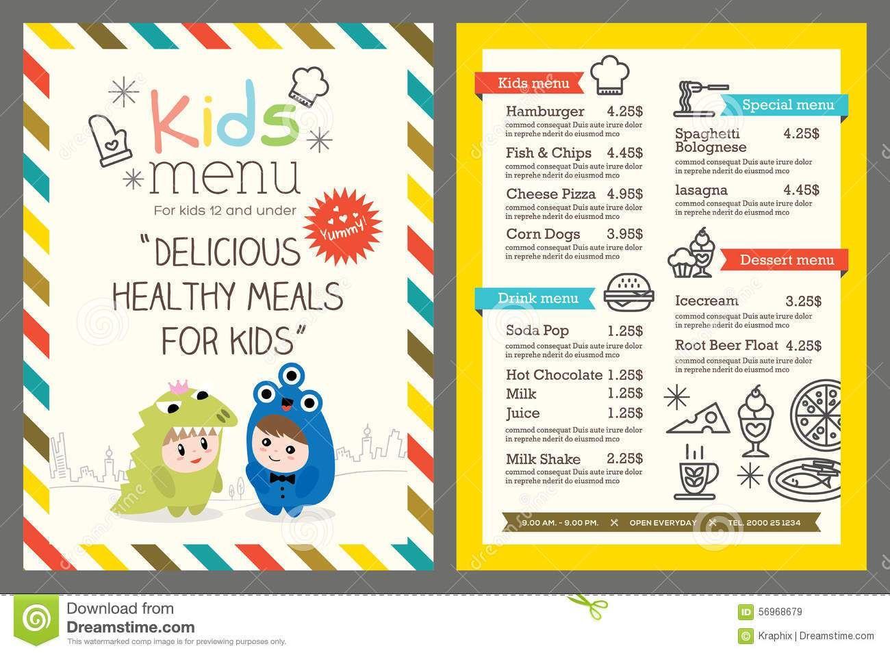 Menu Templates For Kids Pretend Restaurant Printable Menus