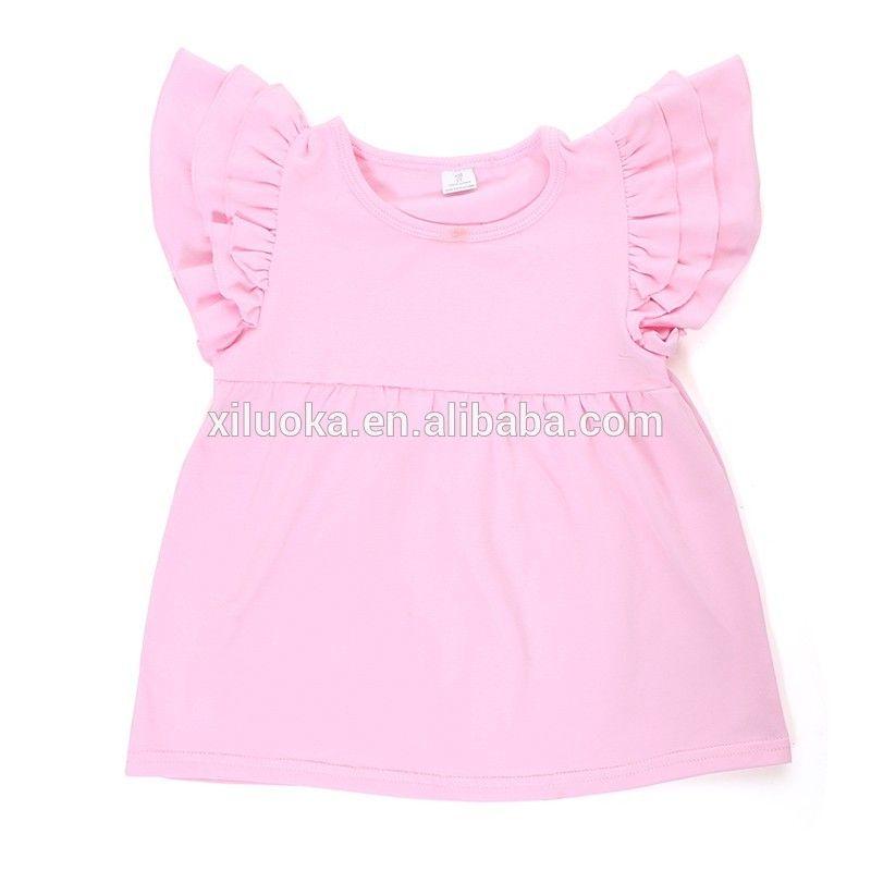 Bulk Wholesale Kids Cotton Clothes Flutter Sleeve Baby Shirt