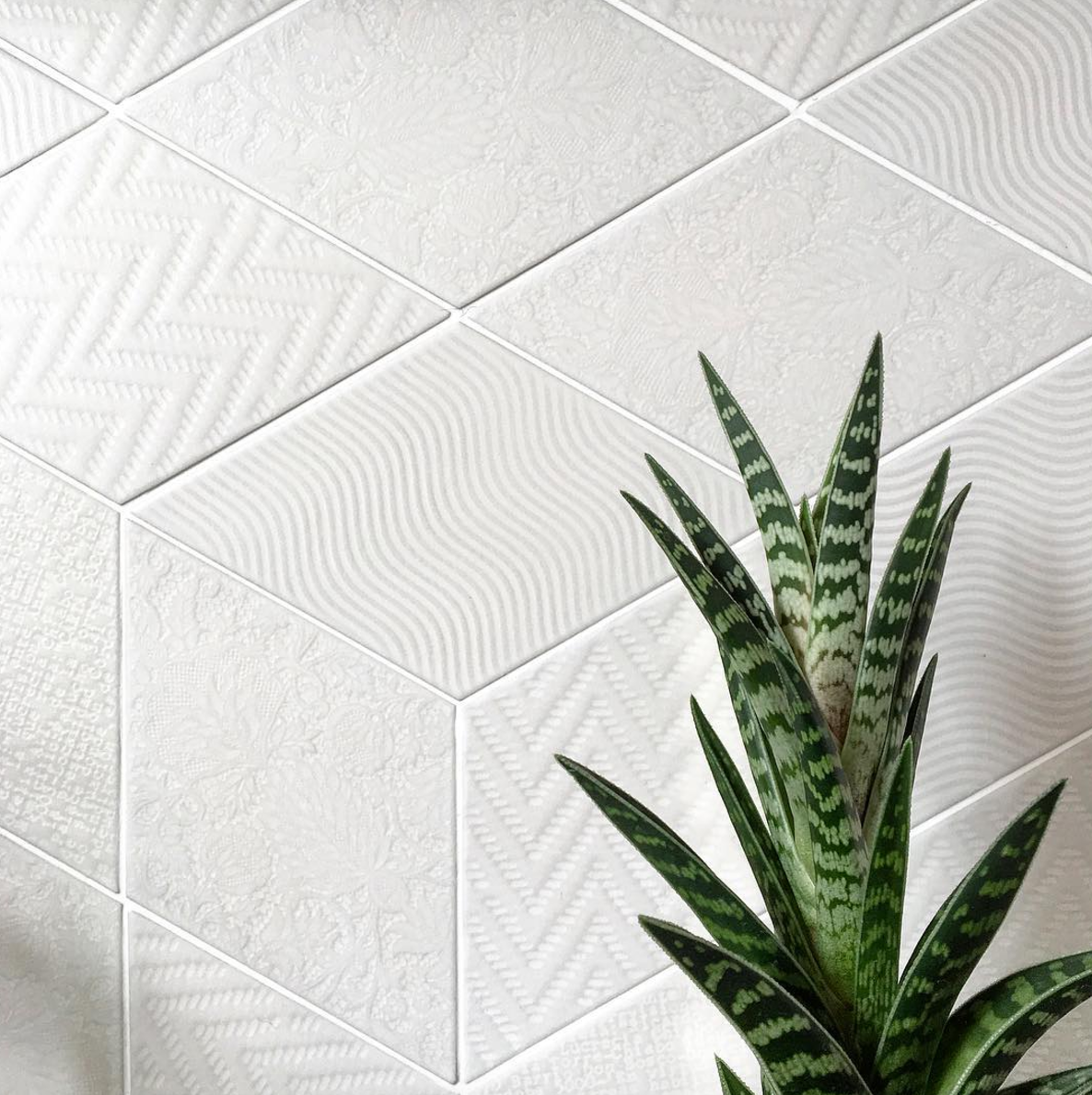 Rhombus White Textured Tile Suitable For Walls And Floors Available In A Range Of Colours Contact Info St Rhombus Tile Textured Tile Backsplash Tiles Texture