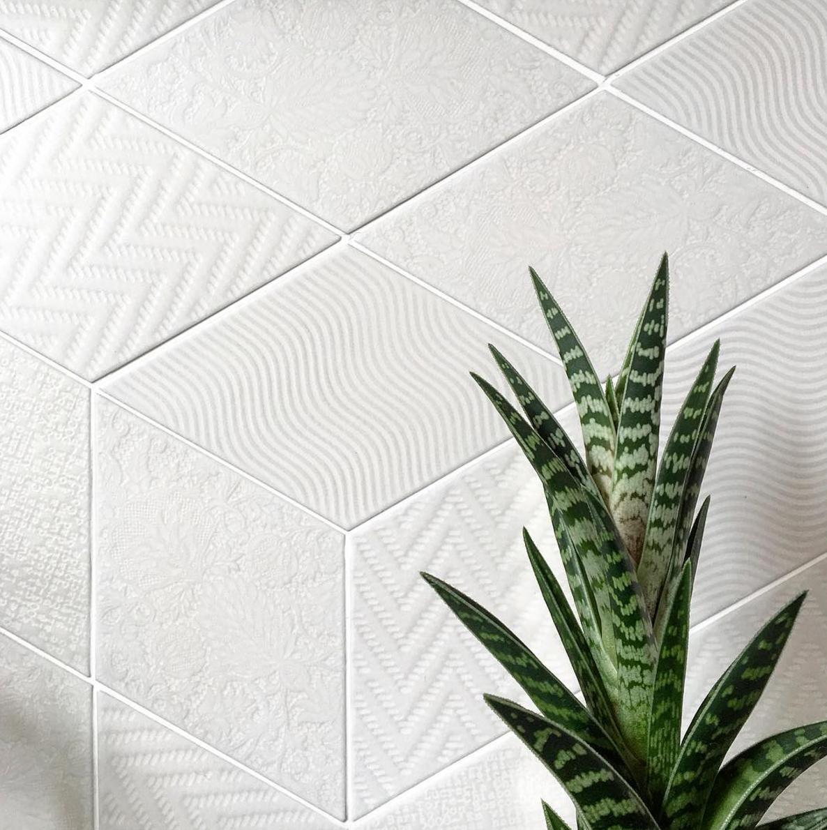 rhombus white textured tile suitable