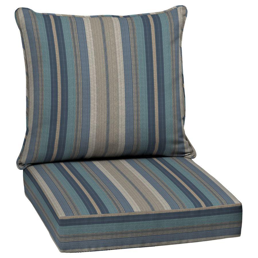 Allen Roth Stripe Blue Glenlee Deep Seat Patio Chair Cushion For