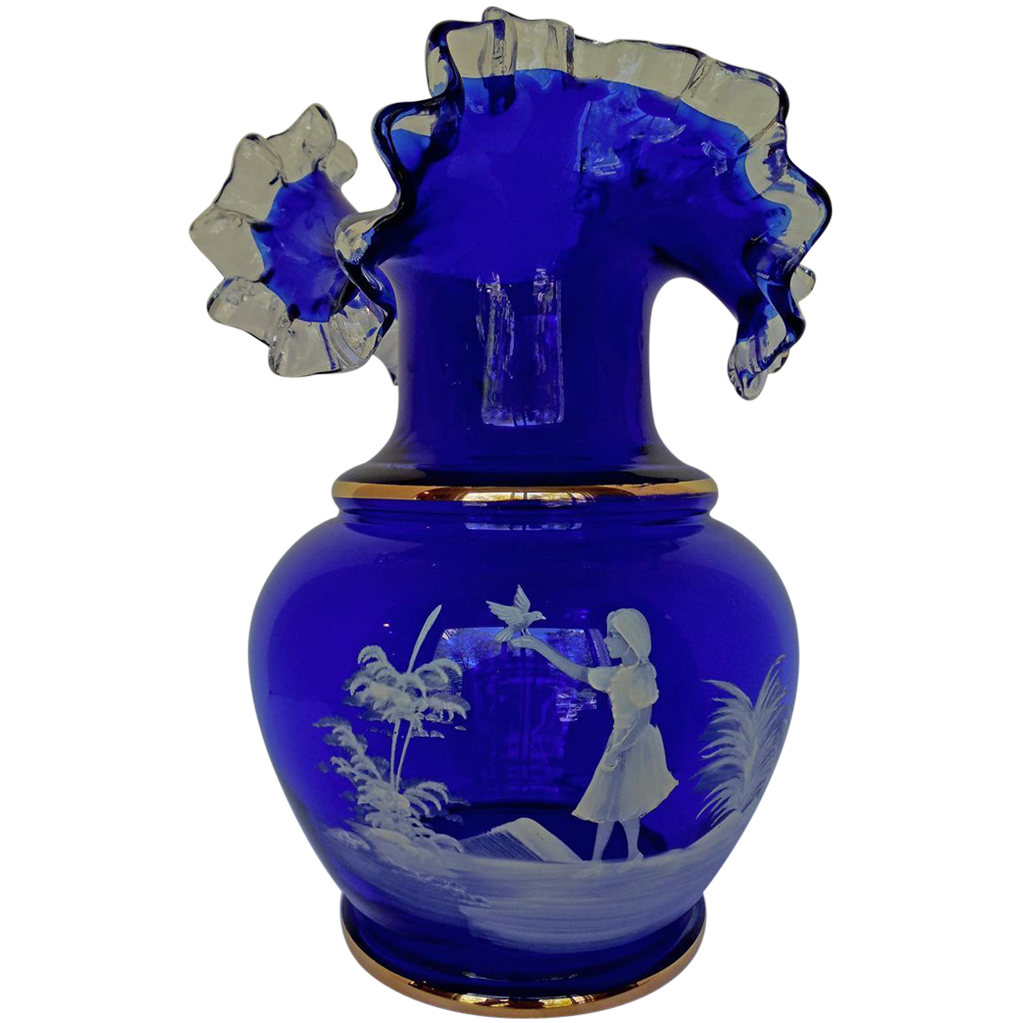 Vintage mary gregory style cobalt glass vase ruffled edge mary vintage mary gregory style cobalt glass vase ruffled edge floridaeventfo Image collections
