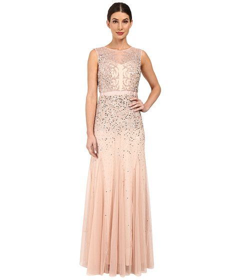 aab4eef9 Adrianna Papell Beaded Illusion Gown (Prom) Blush - Zappos.com Free  Shipping BOTH Ways