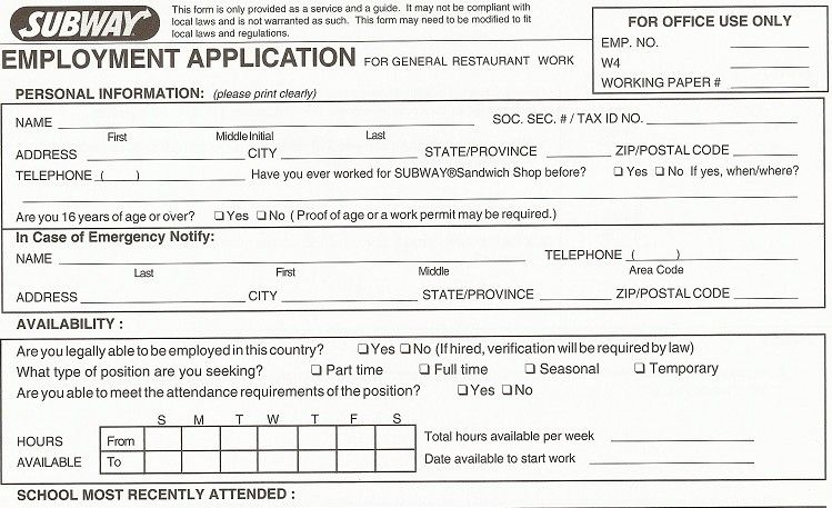 Printable+Subway+Job+Application+Form application Pinterest - job application forms