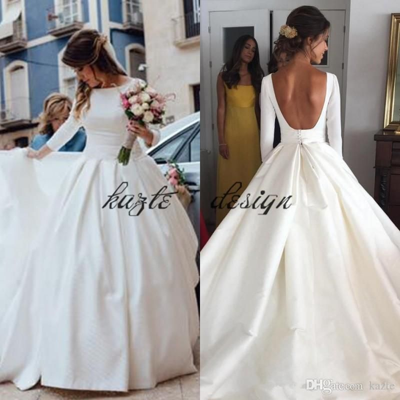 Simple Cheap Wedding Dresses 2018 Plus Size Modest A Line With Long Sleeves Long Sleeve Wedding Dress Backless Wedding Dresses Satin Wedding Dress Long Sleeve