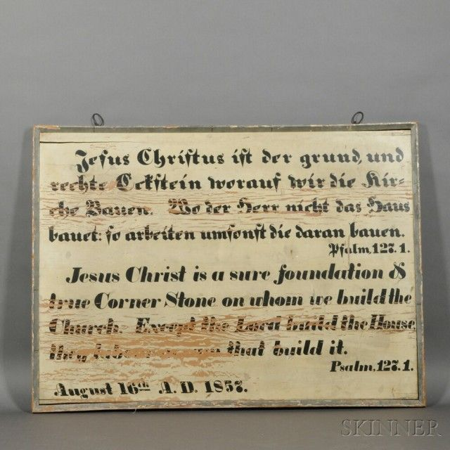 Painted Panel Depicting Psalm 127:1   Sale Number 2680B, Lot Number 437   Skinner Auctioneers