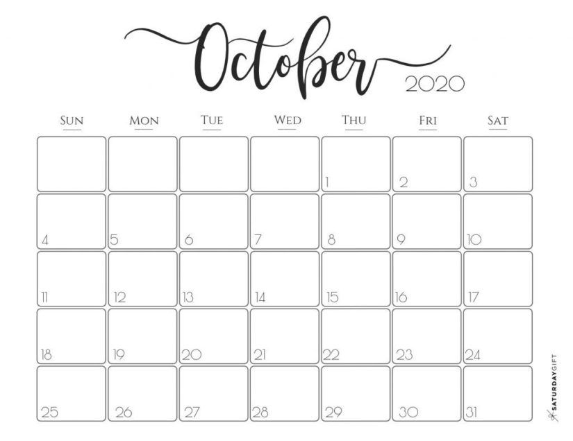 50 Free Printable October 2020 Calendars With Holidays Onedesblog Printable Calendar Pages Calendar Printables Monthly Calendar Printable