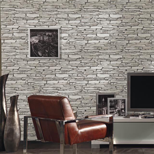 papier peint vinyle sur papier lutece pierre plate grise maison pinterest papier peint. Black Bedroom Furniture Sets. Home Design Ideas