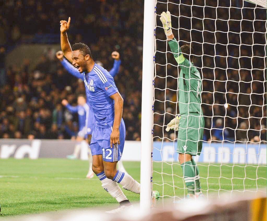 Mikel celebrating a rare goal! - #CFC