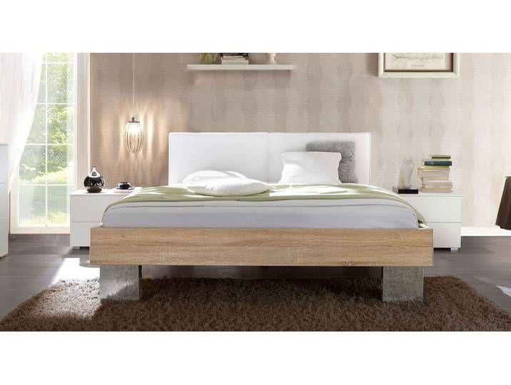 Bett 100×200 cm mit Dekor Eiche natur und weißem Kopfteil – Cassio – D
