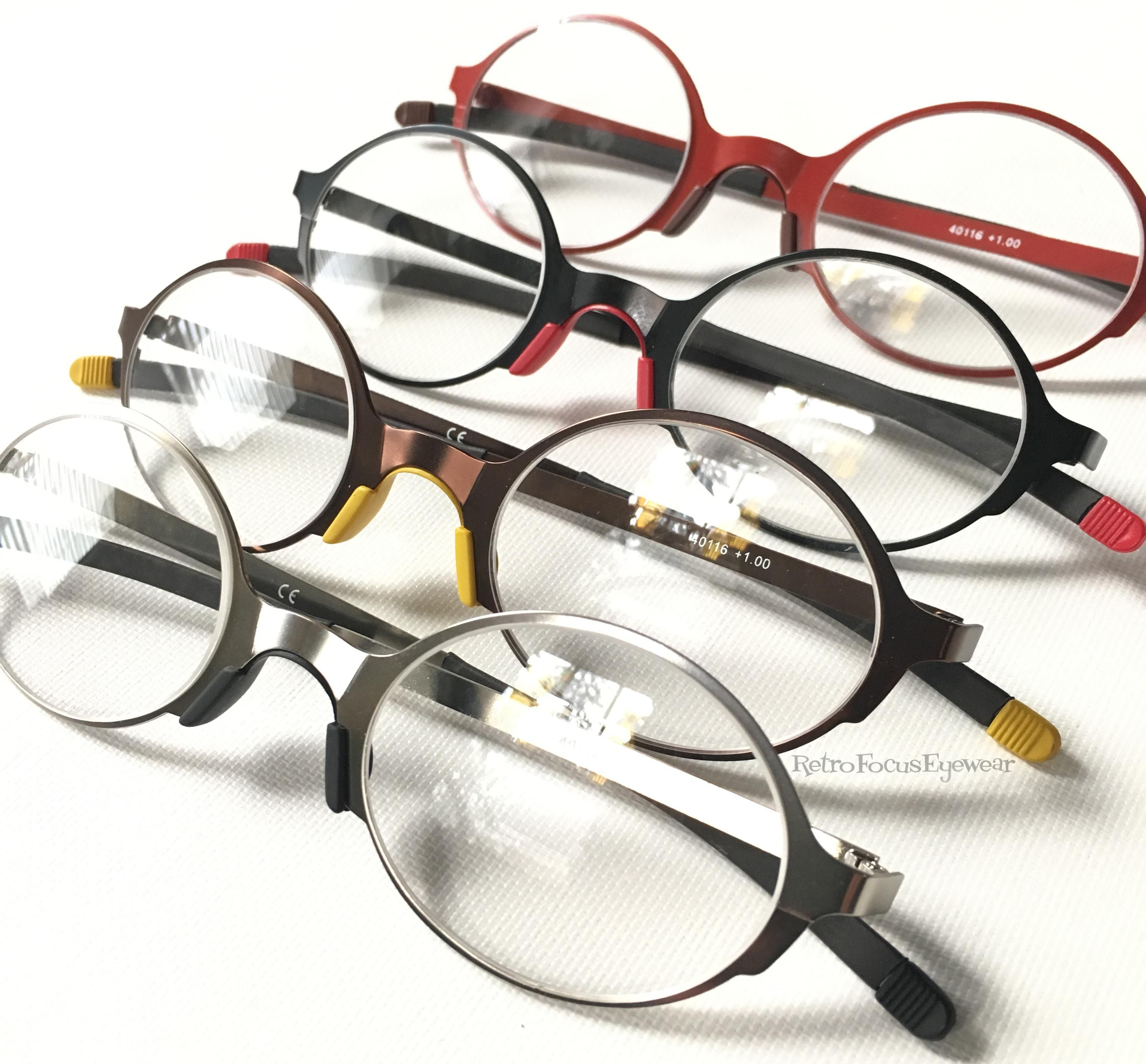 Colorful reading glasses. Round metal readers in a modern, clean ...