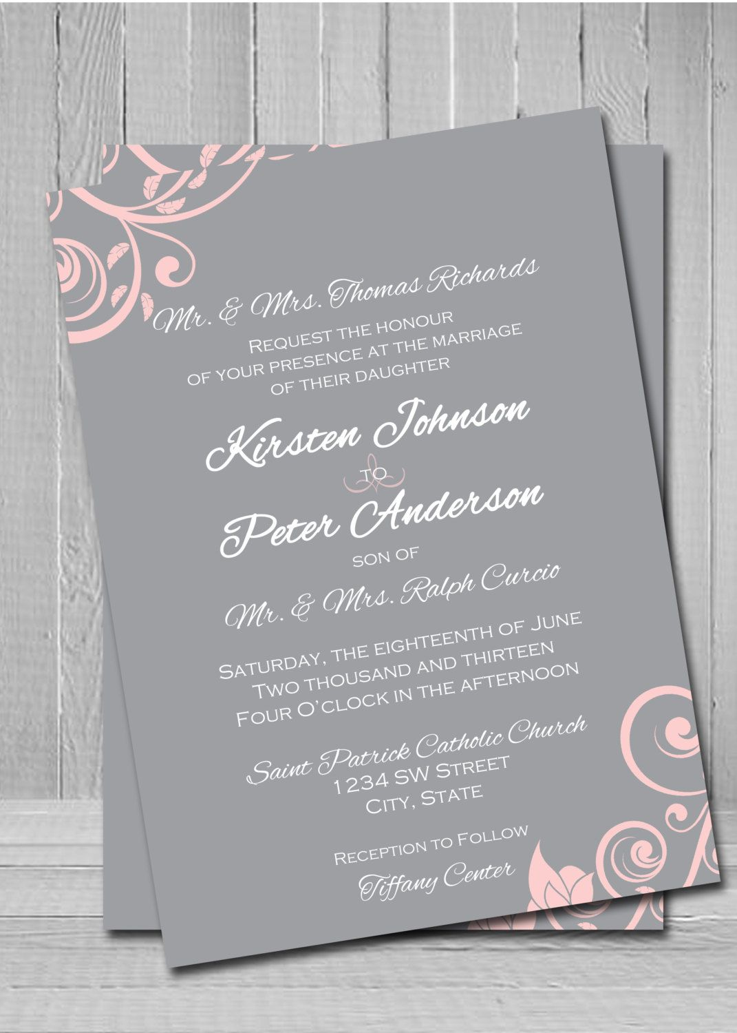 Grey and pink wedding invitationI would switch