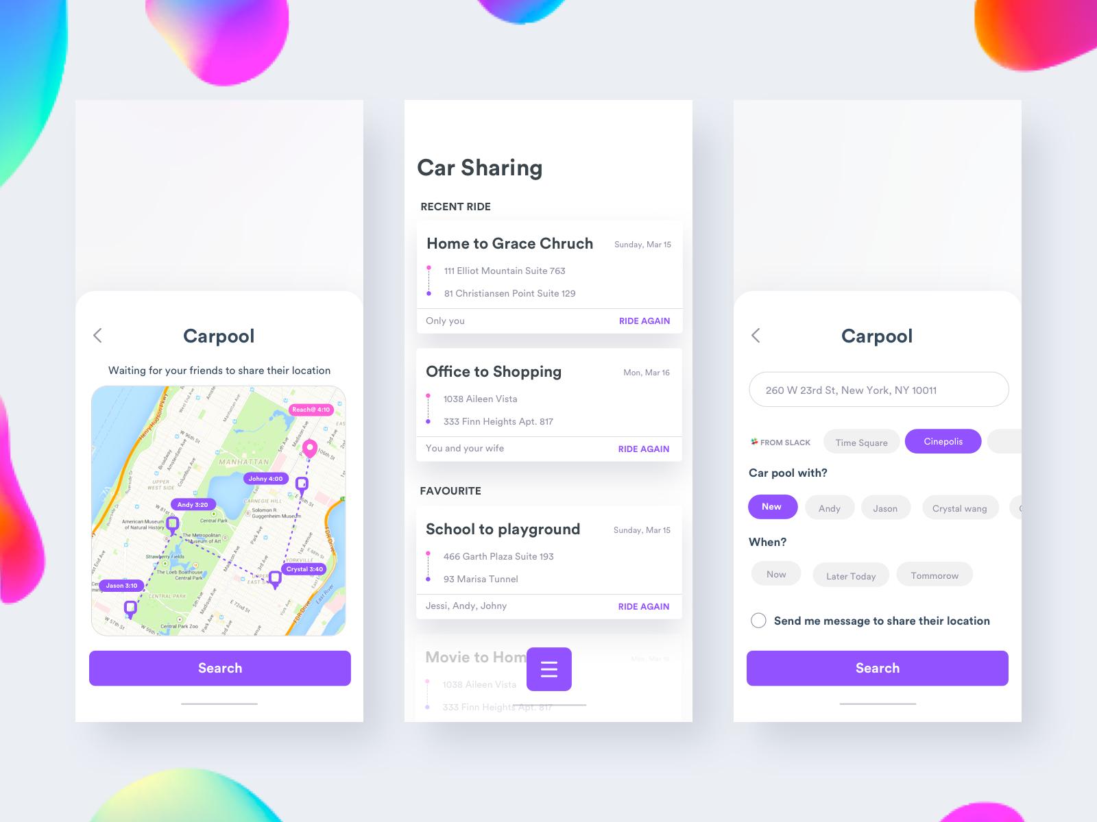Car Sharing Uber Pool Ride Lyft Ui Redesign Recent App Ui 2x Uber