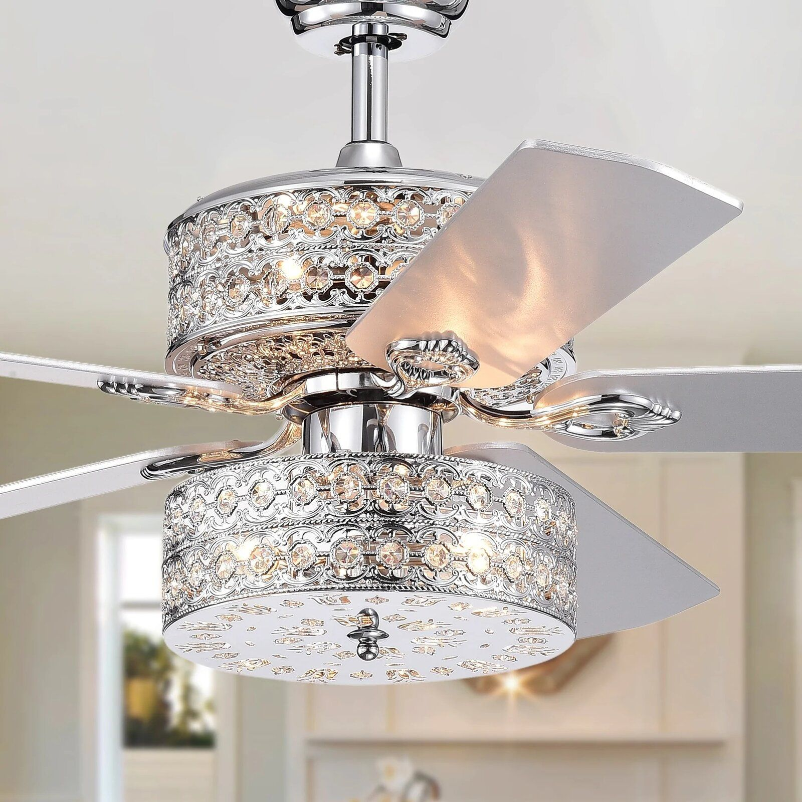 Rosdorf Park 52 Parma 5 Blade Crystal Ceiling Fan With Light Kit Included Wayfair Ceiling Fan Chandelier Chandelier Fan Ceiling Fan