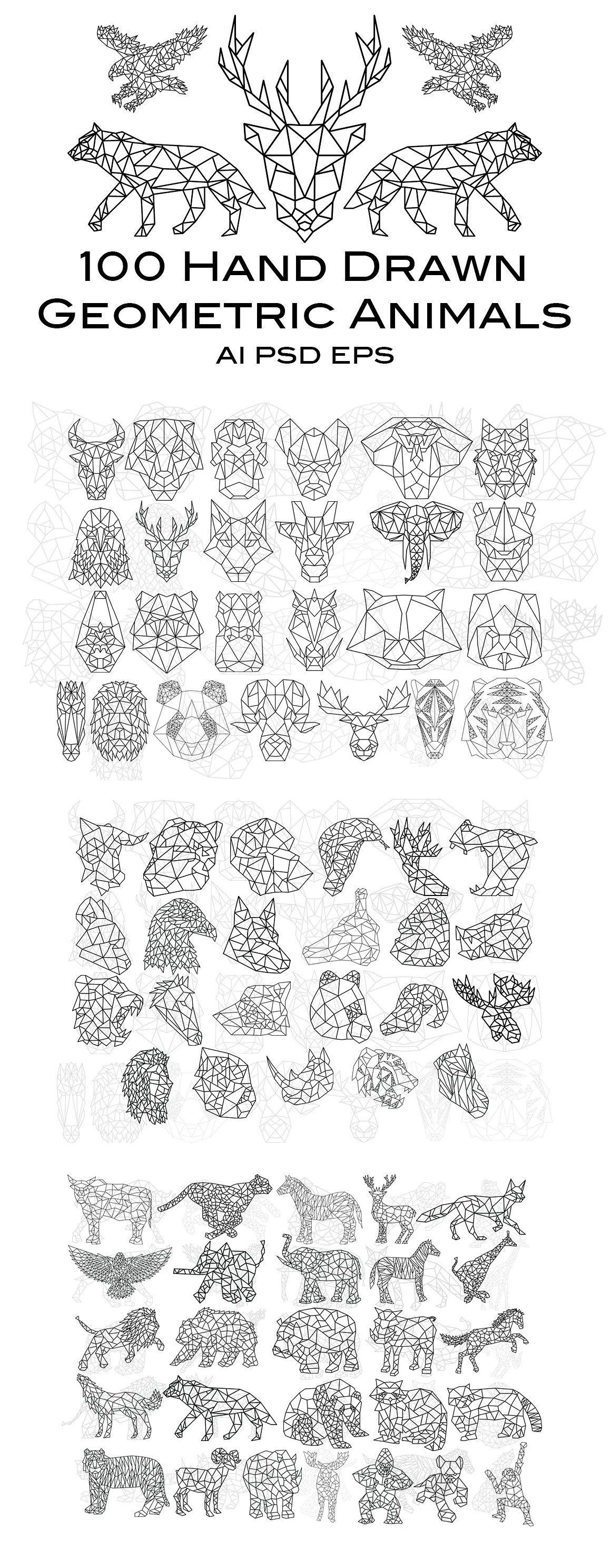 100 Hand Drawn Geometric Animals