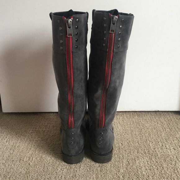 Madden Girl Gray Boots with Red Zipper