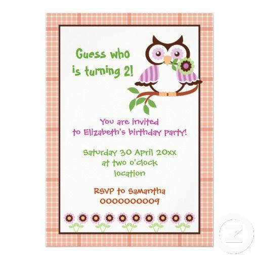 Spring owl kids birthday party plaid orange border personalized spring owl kids birthday party plaid orange border personalized invitations filmwisefo Choice Image