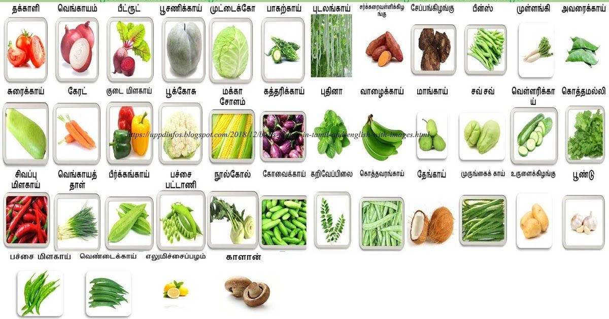 Vegetables name and images in Tamil and English