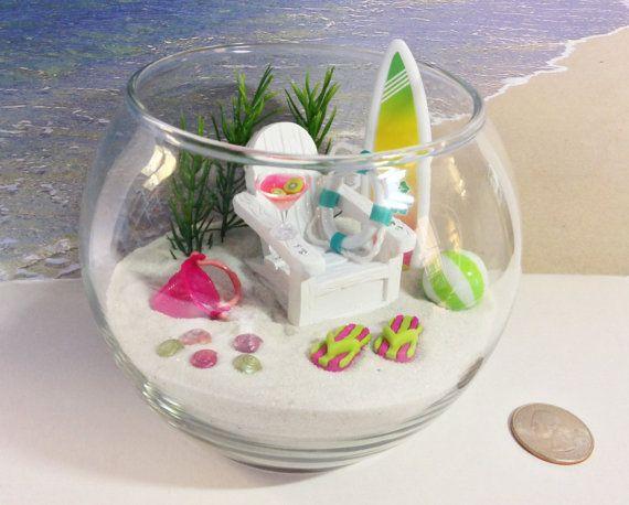 green pink miniature in a fishbowl relaxing tropical garden terrarium sand